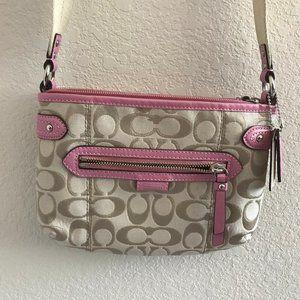 Coach Light Khaki/Pink Signature Swingpack F49452